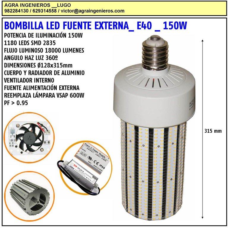 bombilla led e40 e27 alumbrado publico industrial 150w