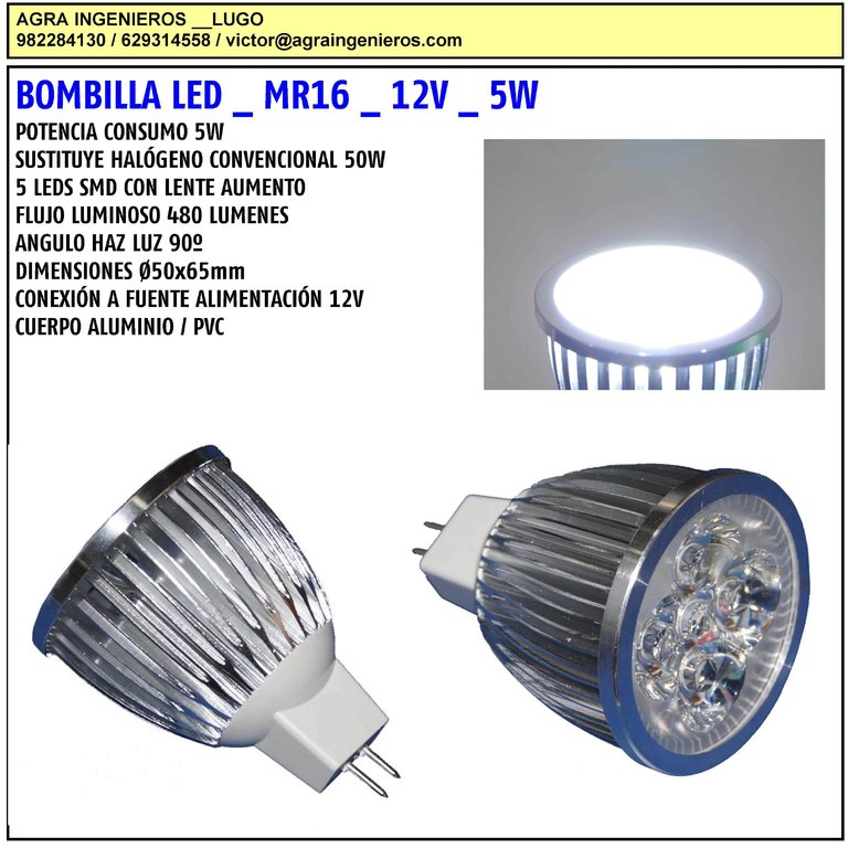 Bombilla led mr16 12v 5w agraled - Bombilla led 12v ...