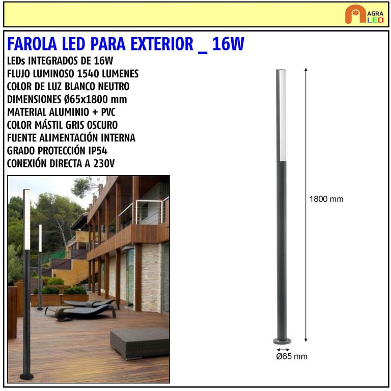 Farola led de exterior jardin 16w agraled for Farolas led para exteriores