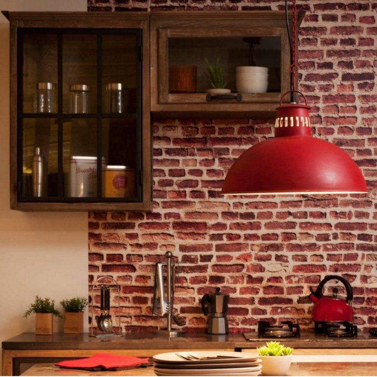 Lampara campana roja techo vintage industrial ag63 agraled - Lampara de techo roja ...